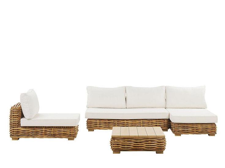 Lounge Set Rattan natürlich 4-Sitzer Auflagen cremeweiß