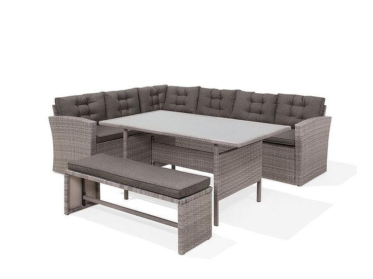 Lounge Set Rattan grau