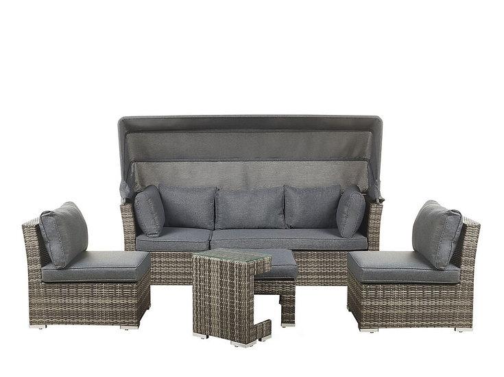Lounge Set Rattan braun Auflagen grau modular 6-Sitzer