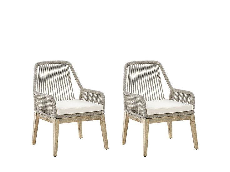 Gartenstuhl beige / heller Holzfarbton 2er Set Auflagen