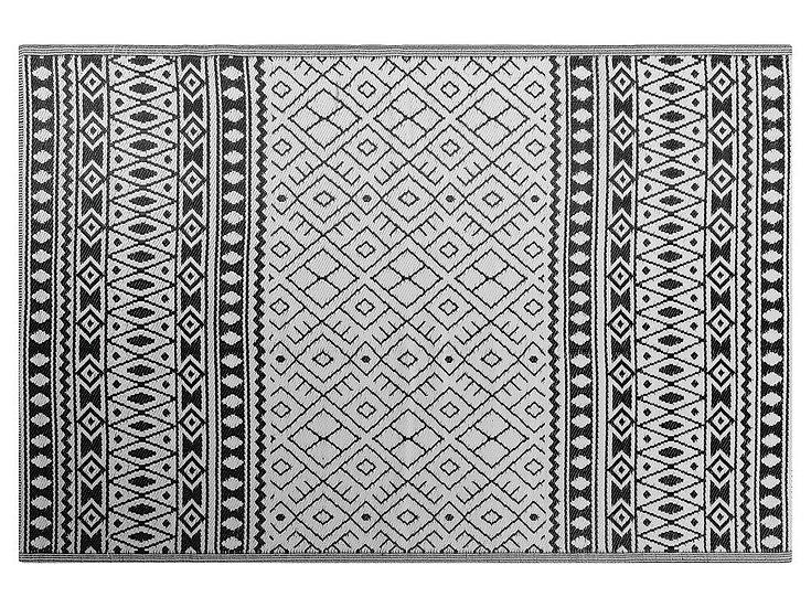 Outdoor Teppich schwarz 180 x 240 cm geometrisches Muster