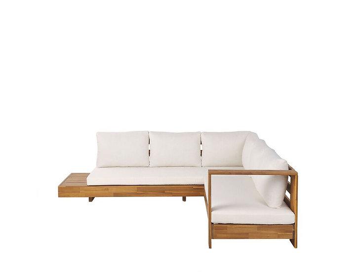 Lounge Set Akazienholz hellbraun 5-Sitzer Auflagen cremeweiß