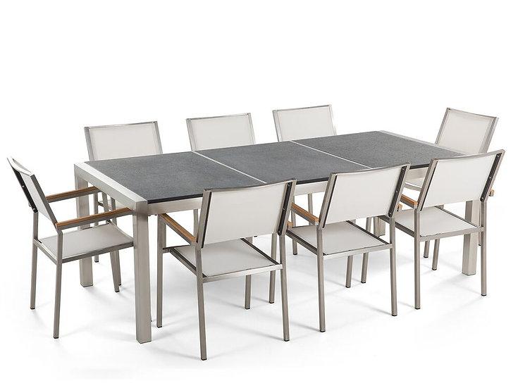 Gartenmöbel Set Naturstein geflammt 220 x 100 cm 8-Sitzer Stühle Textilb