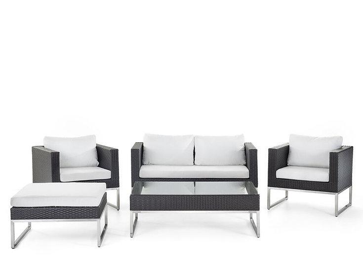 Lounge Set Rattan braun 5-Sitzer Auflagen weiß