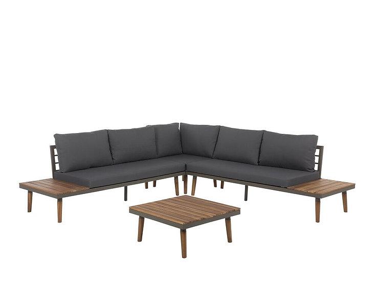 Lounge Set Akazienholz braun 5-Sitzer Auflagen grau