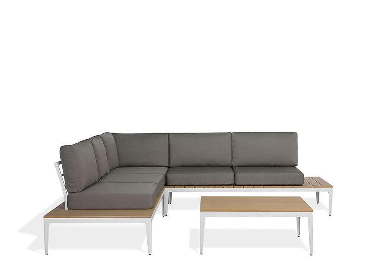 Lounge Set Aluminium weiß 4-Sitzer Auflagen grau