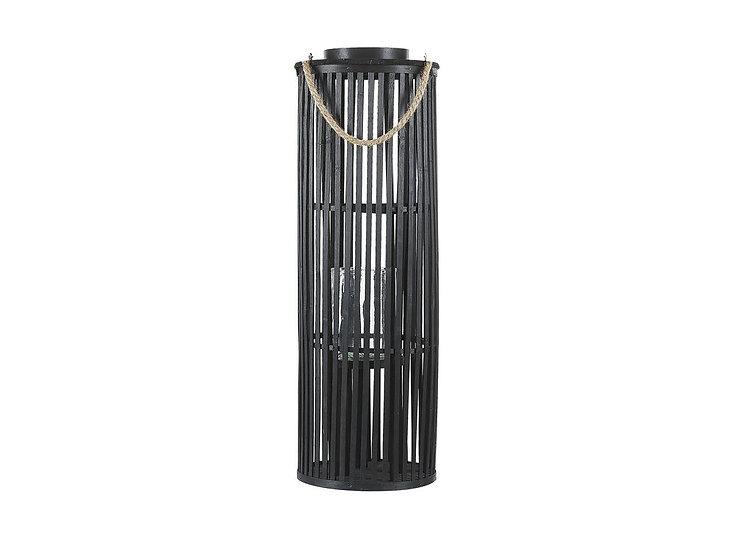Laterne Weidenholz schwarz 80 cm