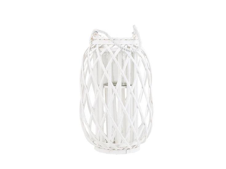 Laterne Weidenholz weiß 40 cm