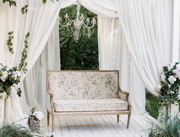 Podium with White Curtains