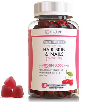 Skin, Hair and Nail Gummy Vitamins with 5,000mcg Biotin Per Serving