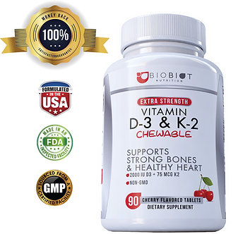Vitamin D3 with K2 Supplement – 90 Cherry Flavored D3 2000 IU + K2 75mcg