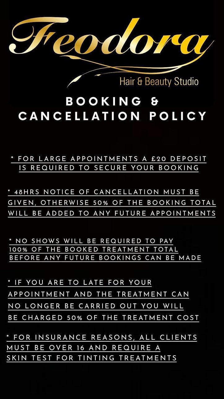 Booking Policy for Feodora Hair and Beau