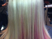Blonde and Pink straight blonde hairstyl