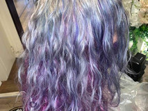 Shaded purple long wavy hair