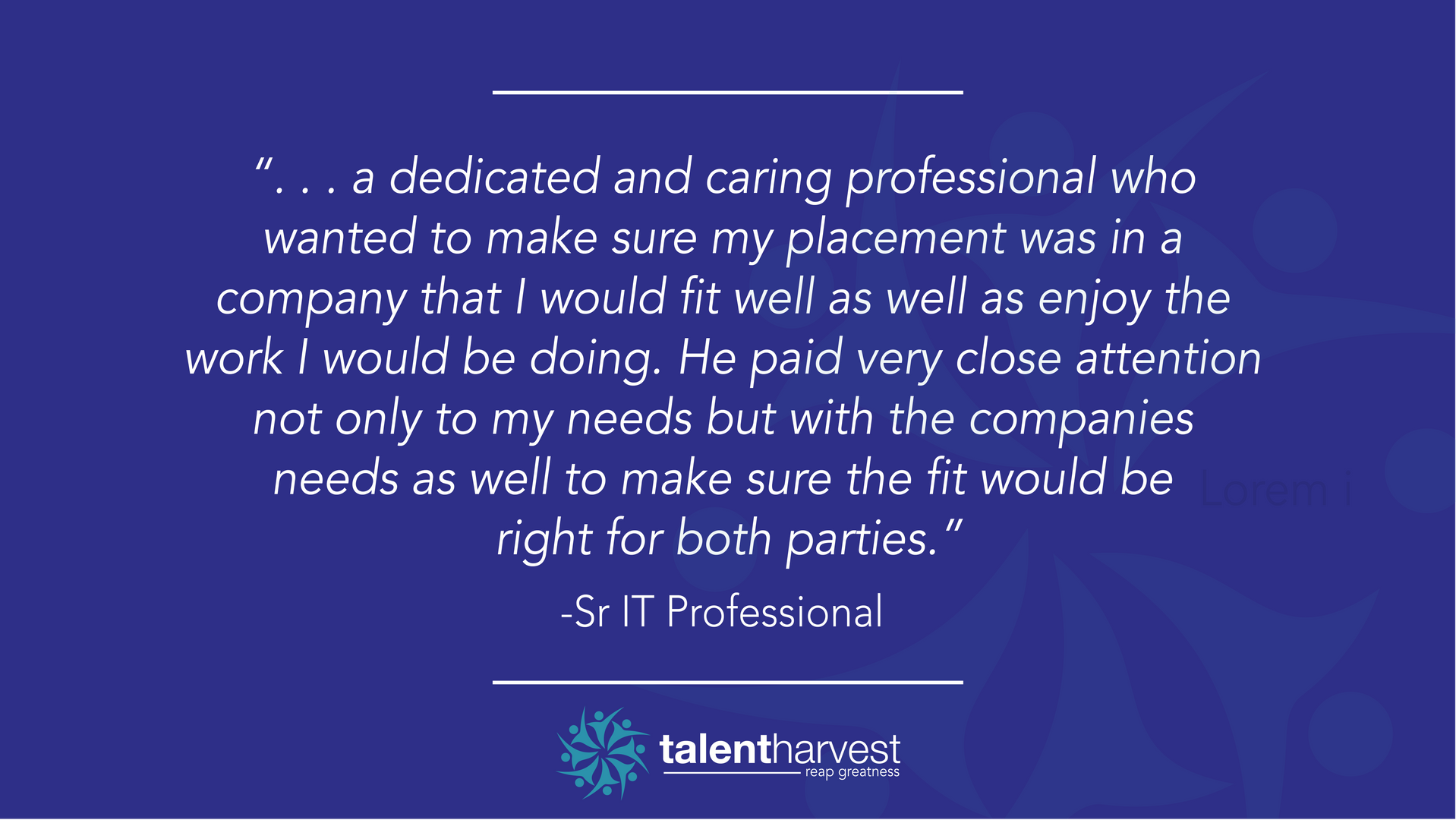 Testimonial from a client