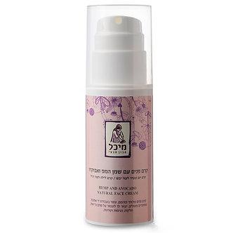 קרם פנים טבעי עם שמן המפ ואבוקדו לעור יבש- מיכל סבון טבעי