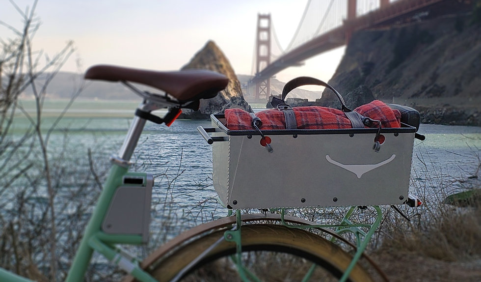Ronin Bicycle Basket in Front of the Golden Gate Bridge at Cavallo Point