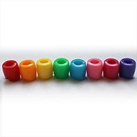 Rainbow plastic barrel dreadlock beads