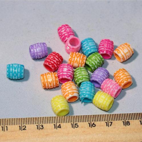 Bright coloured engraved plastic barrel dreadlock bead