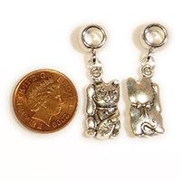 Silver lucky / waving cat Dreadlock Charm Bead