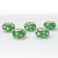 Green and white glass dreadlock beads