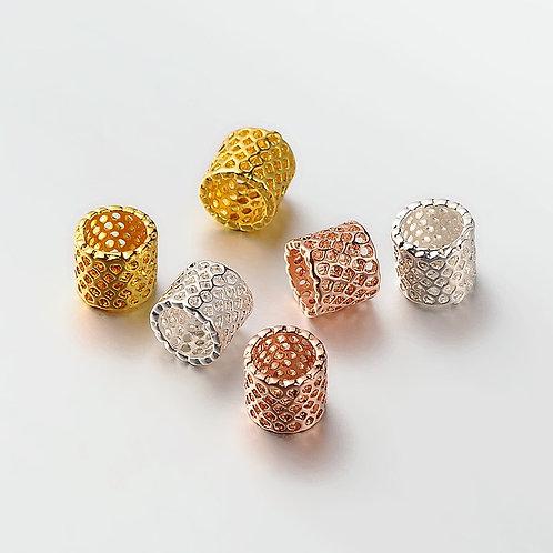 Brass Filigree Cutout Tube Dreadlock bead