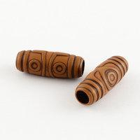 Acrylic wood effect dreadlock tube bead