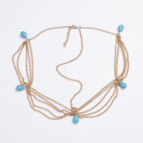 Turquoise Drops Gold Chain Headband