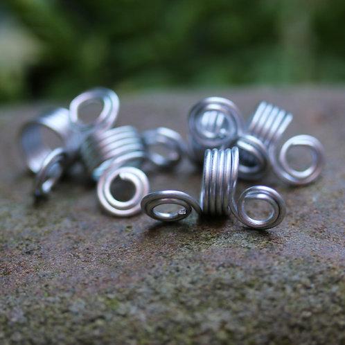 Spiral Dreadlock Cuff Bead Silver x 5