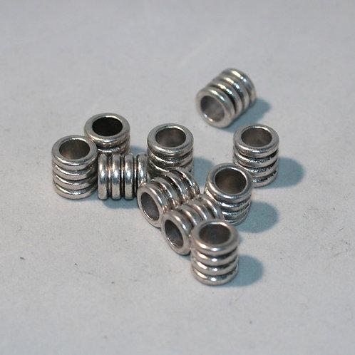Grooved Pattern Metal Dreadlock Beads