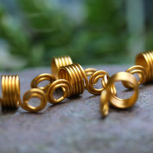 Spiral Dreadlock Cuff Bead Gold x 5