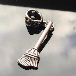 Silver Broomstick Dreadlock Charm Bead