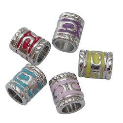 Coloured Enamel Tube Dreadlock Beads