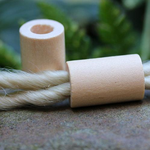 Natural Wood Dreadlock Tube Bead x 2