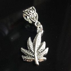 Silver Marijuana / weed leaf Dreadlock Charm Bead