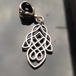 Large Silver Celtic Teardrop Dreadlock Charm Bead