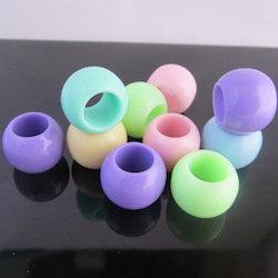 Pastel coloured large hole acrylic / plastic dreadlock beads