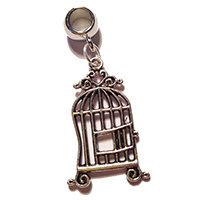 Silver Birdcage Dreadlock Charm Bead