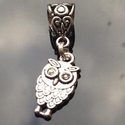 Silver Owl Dreadlock Charm Bead