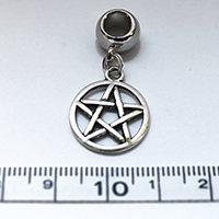 Silver Pentagram Dreadlock Charm Bead