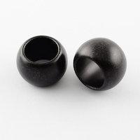 Matte black large hole acrylic / plastic dreadlock beads