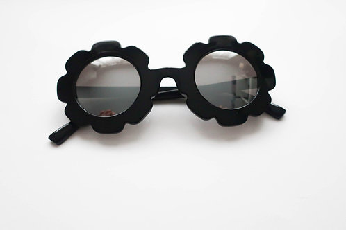 Reflective Black Flower Sunglasses