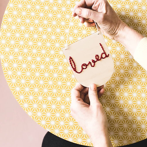 Loved Wooden Banner Embroidery Kit