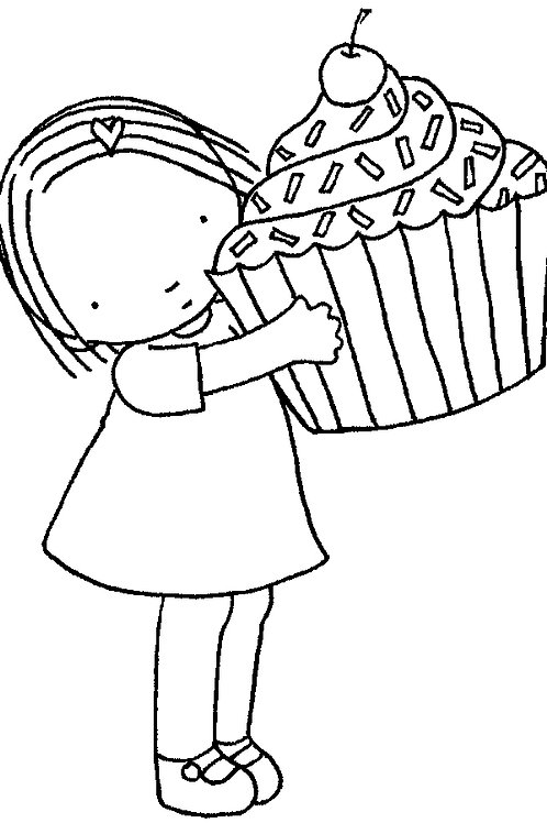 Cupcake Girl Colouring Page