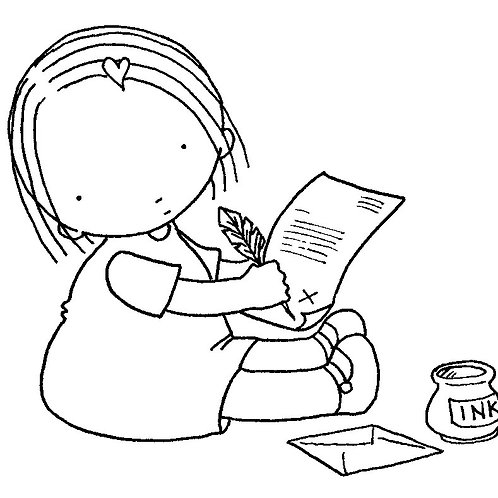 Penpal Girl Colouring Page