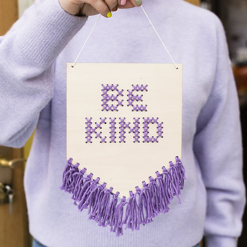 Lilac Tasseled Wooden Banner Embroidery Kit