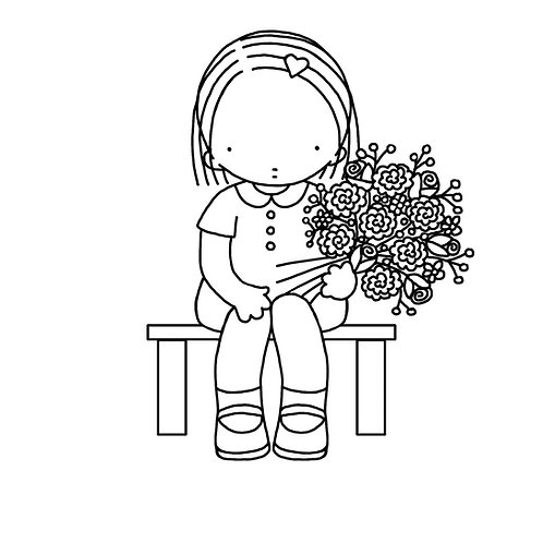 Flower Girl Colouring Page