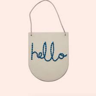 Hello Wooden Banner Embroidery Kit