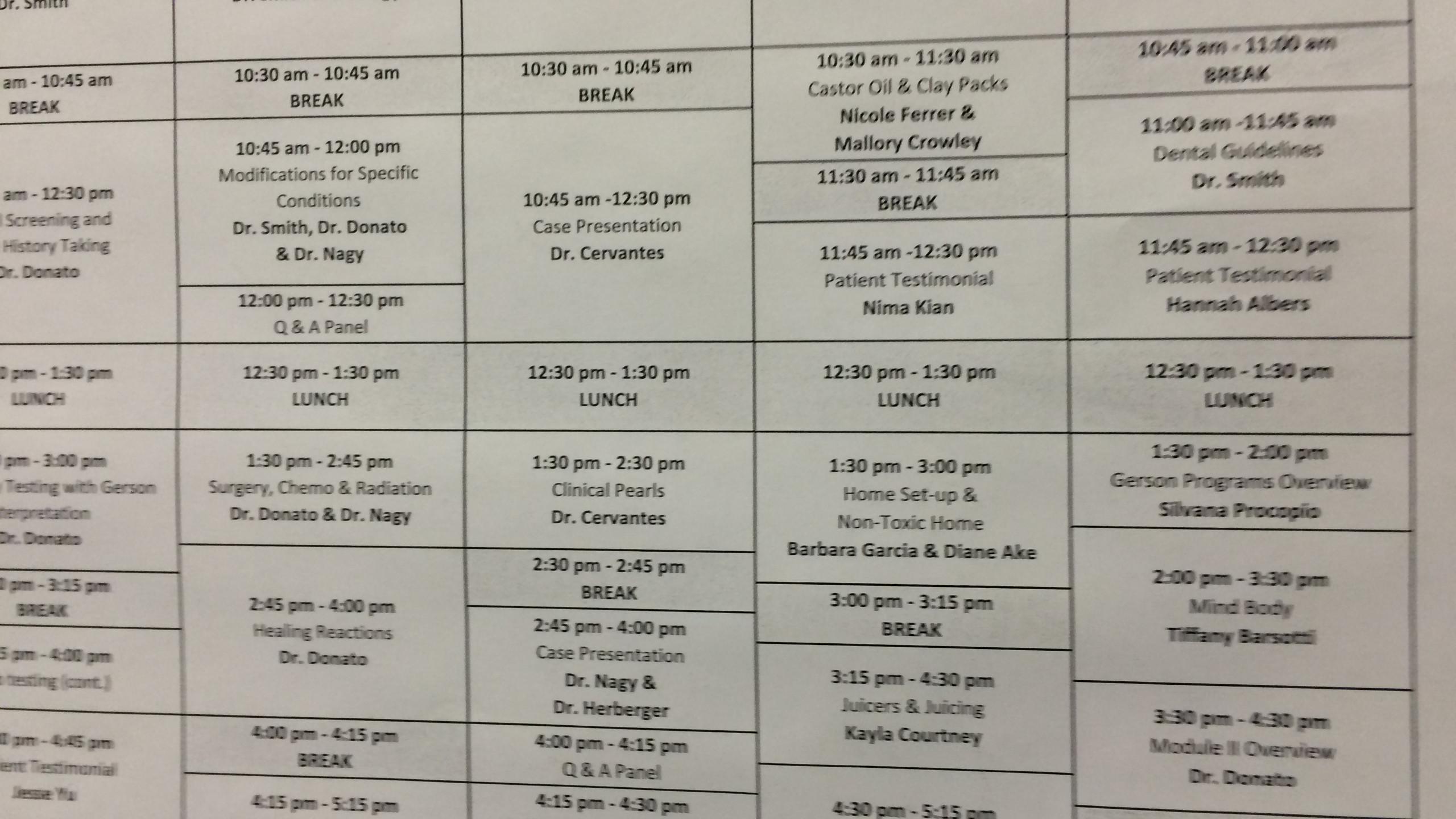 Stundenplan der Fortbildung