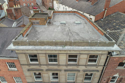 Drone aerial flat roof inspection